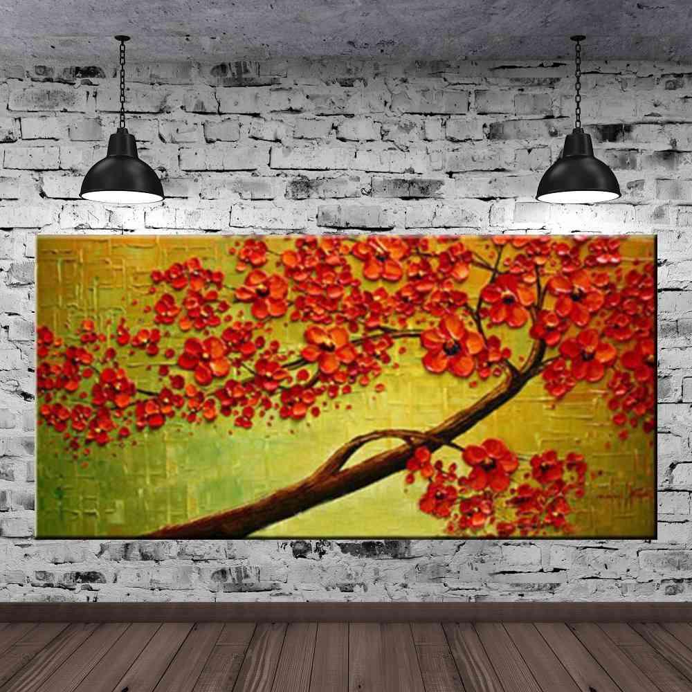 Quadro Pintura Tela Arvores e Flores Modernas Em Altos Relevos Cod 2067