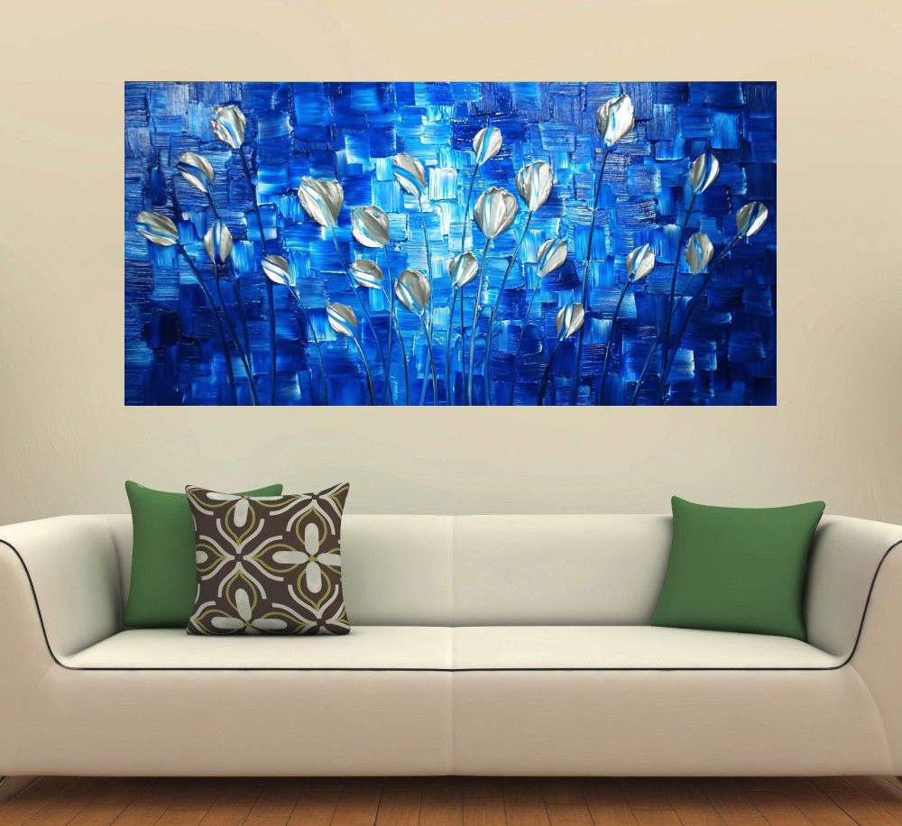 Quadro Pintura Tela Arvores e Flores Modernas Em Altos Relevos Cod 2068