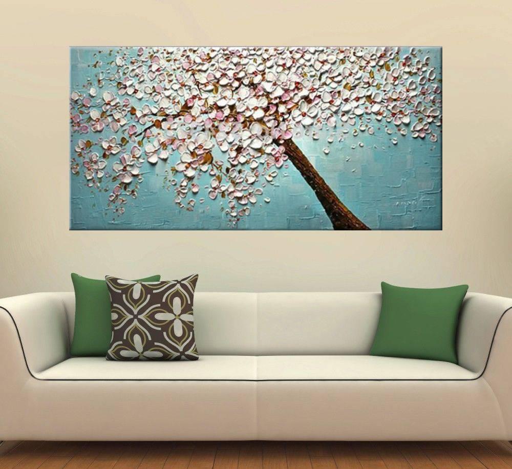 Quadro Pintura Tela Arvores e Flores Modernas Em Altos Relevos Cod 2069