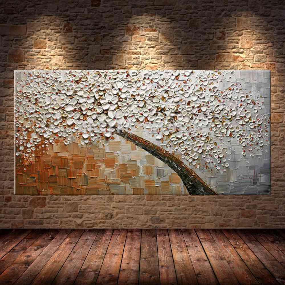 Quadro Pintura Tela Arvores e Flores Modernas Em Altos Relevos Cod 2070