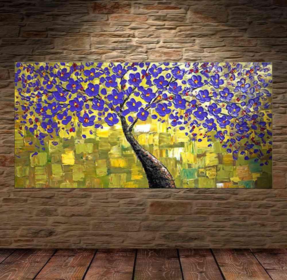 Quadro Pintura Tela Arvores e Flores Modernas Em Altos Relevos Cod 2071
