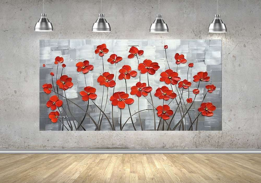 Quadro Pintura Tela Arvores e Flores Modernas Em Altos Relevos Cod 2072