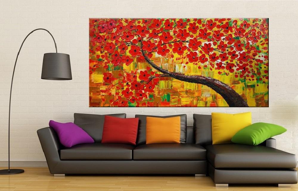 Quadro Pintura Tela Arvores e Flores Modernas Em Altos Relevos Cod 2076