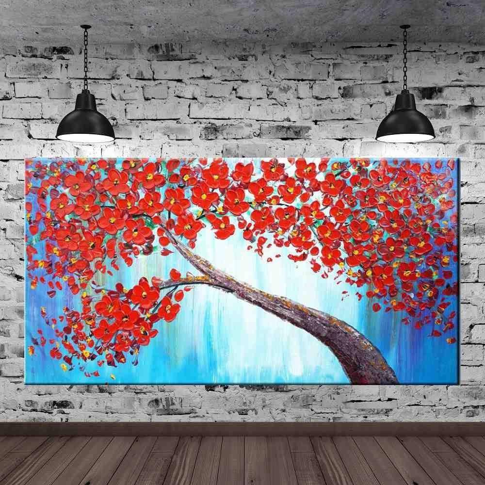 Quadro Pintura Tela Arvores e Flores Modernas Em Altos Relevos Cod 2077