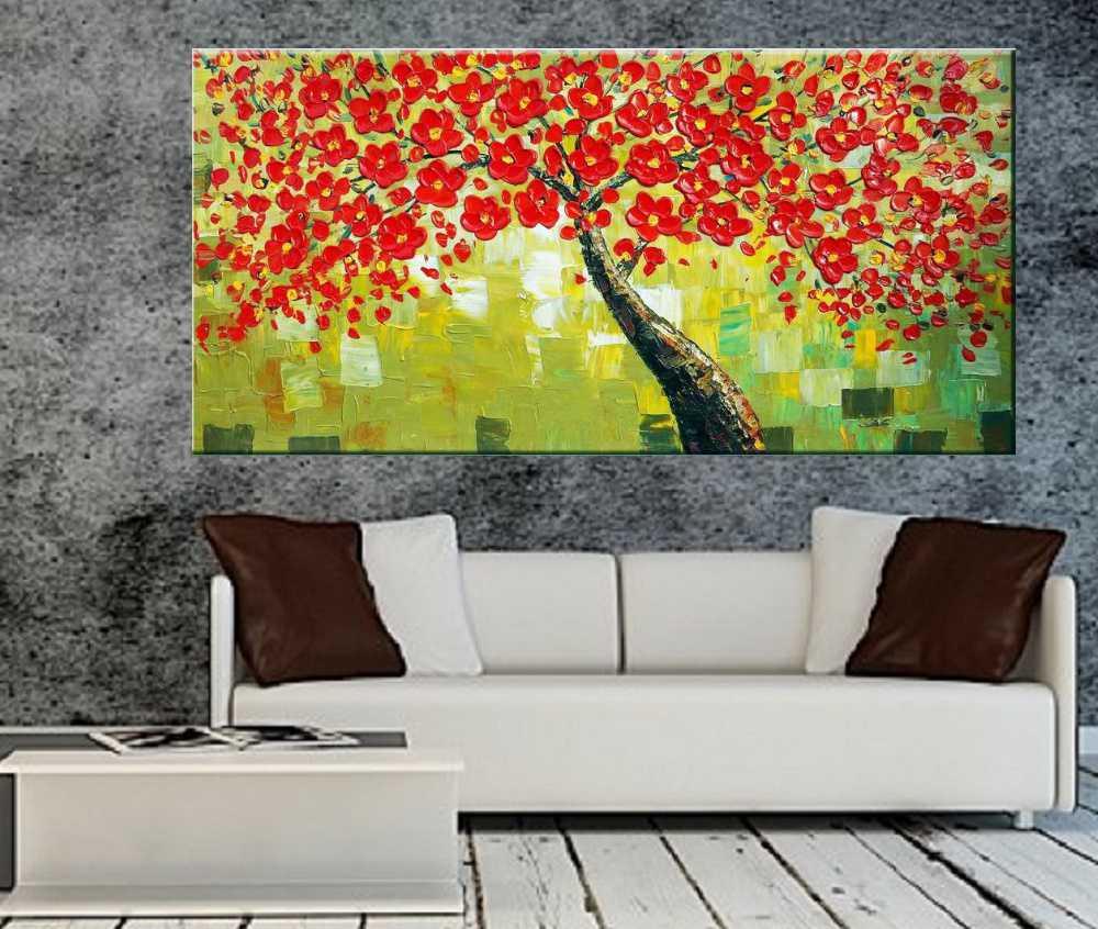 Quadro Pintura Tela Arvores e Flores Modernas Em Altos Relevos Cod 2078
