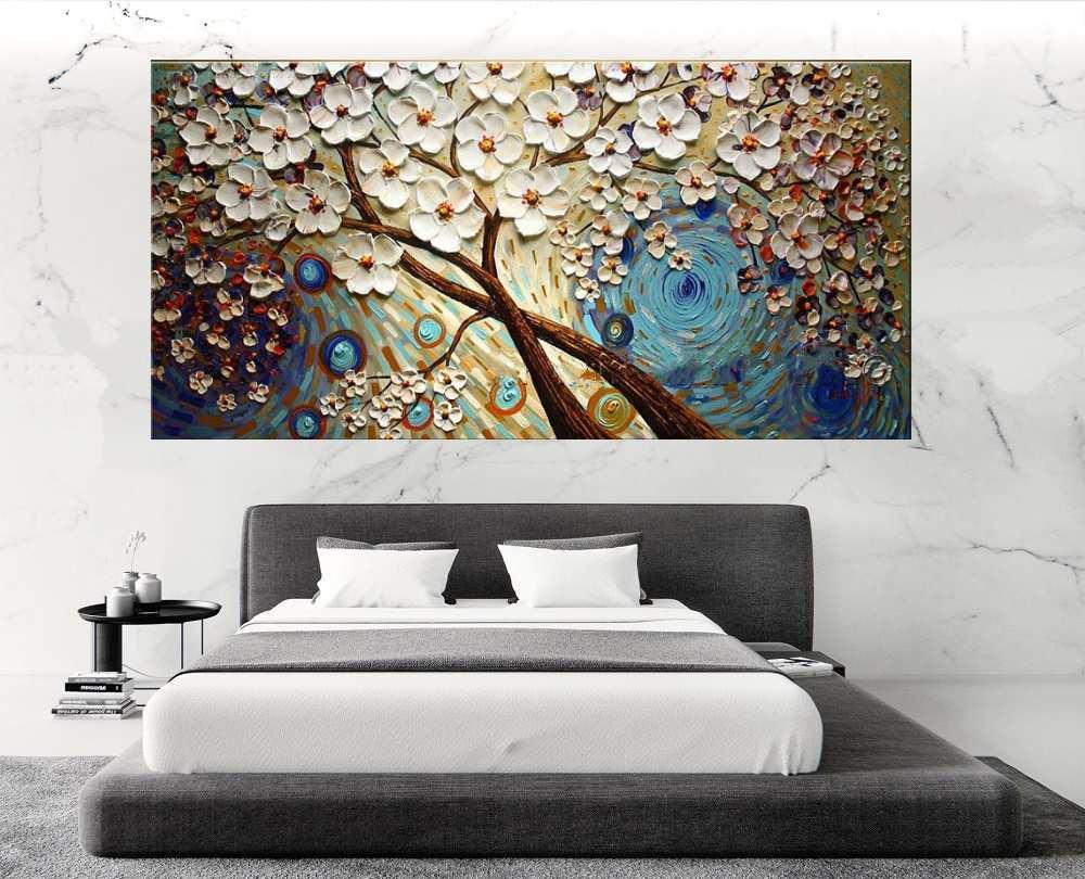 Quadro Pintura Tela Arvores e Flores Modernas Em Altos Relevos Cod 2080