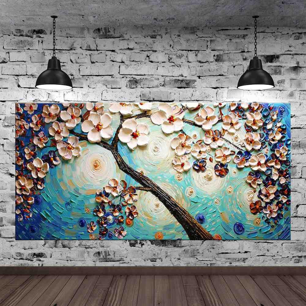 Quadro Pintura Tela Arvores e Flores Modernas Em Altos Relevos Cod 2082