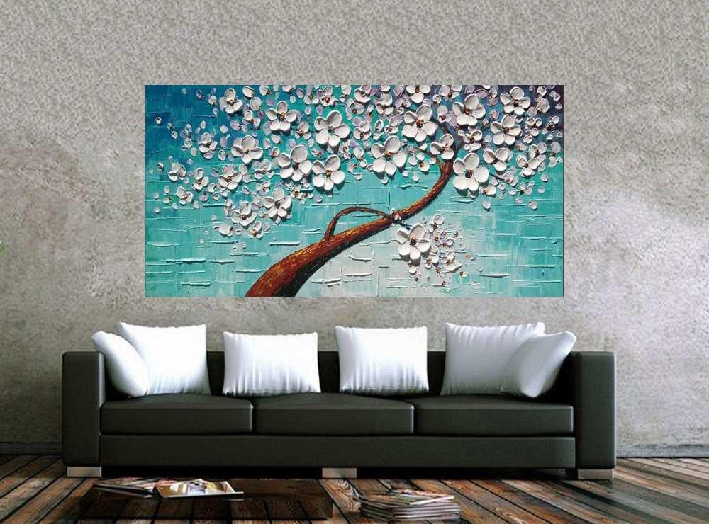 Quadro Pintura Tela Arvores e Flores Modernas Em Altos Relevos Cod 2083
