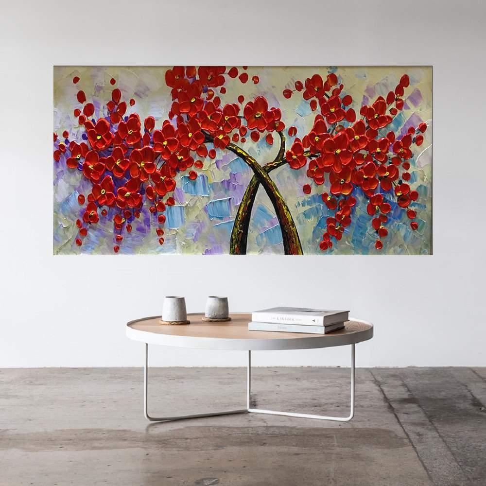 Quadro Pintura Tela Arvores e Flores Modernas Em Altos Relevos Cod 2085