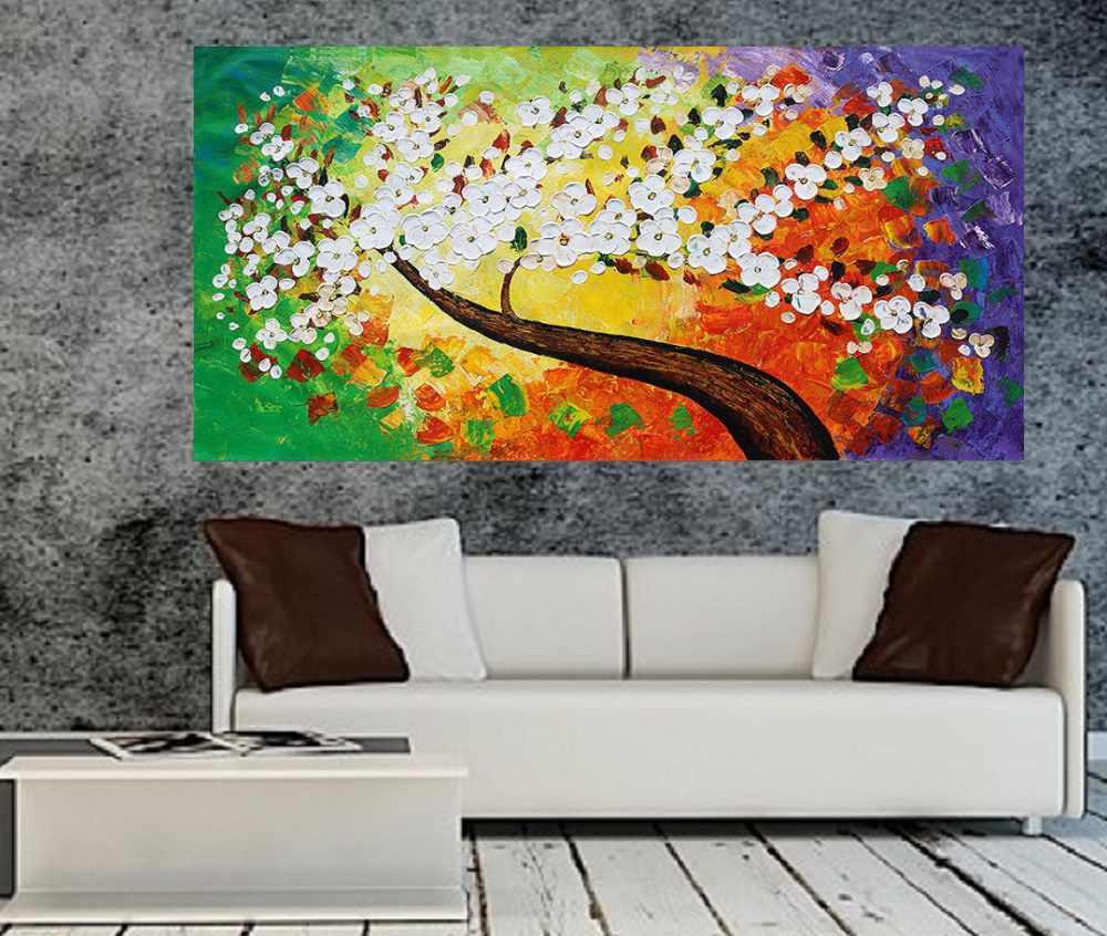 Quadro Pintura Tela Arvores e Flores Modernas Em Altos Relevos Cod 2086