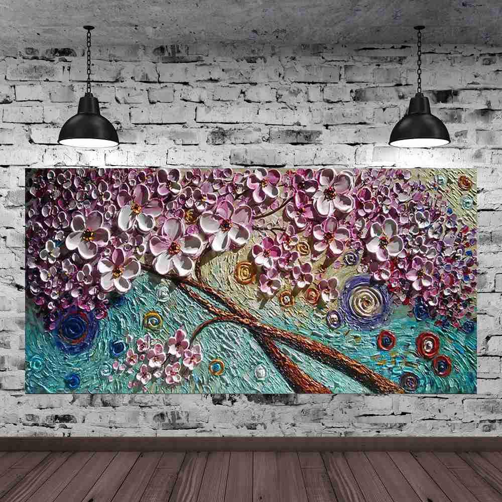 Quadro Pintura Tela Arvores e Flores Modernas Em Altos Relevos Cod 2088