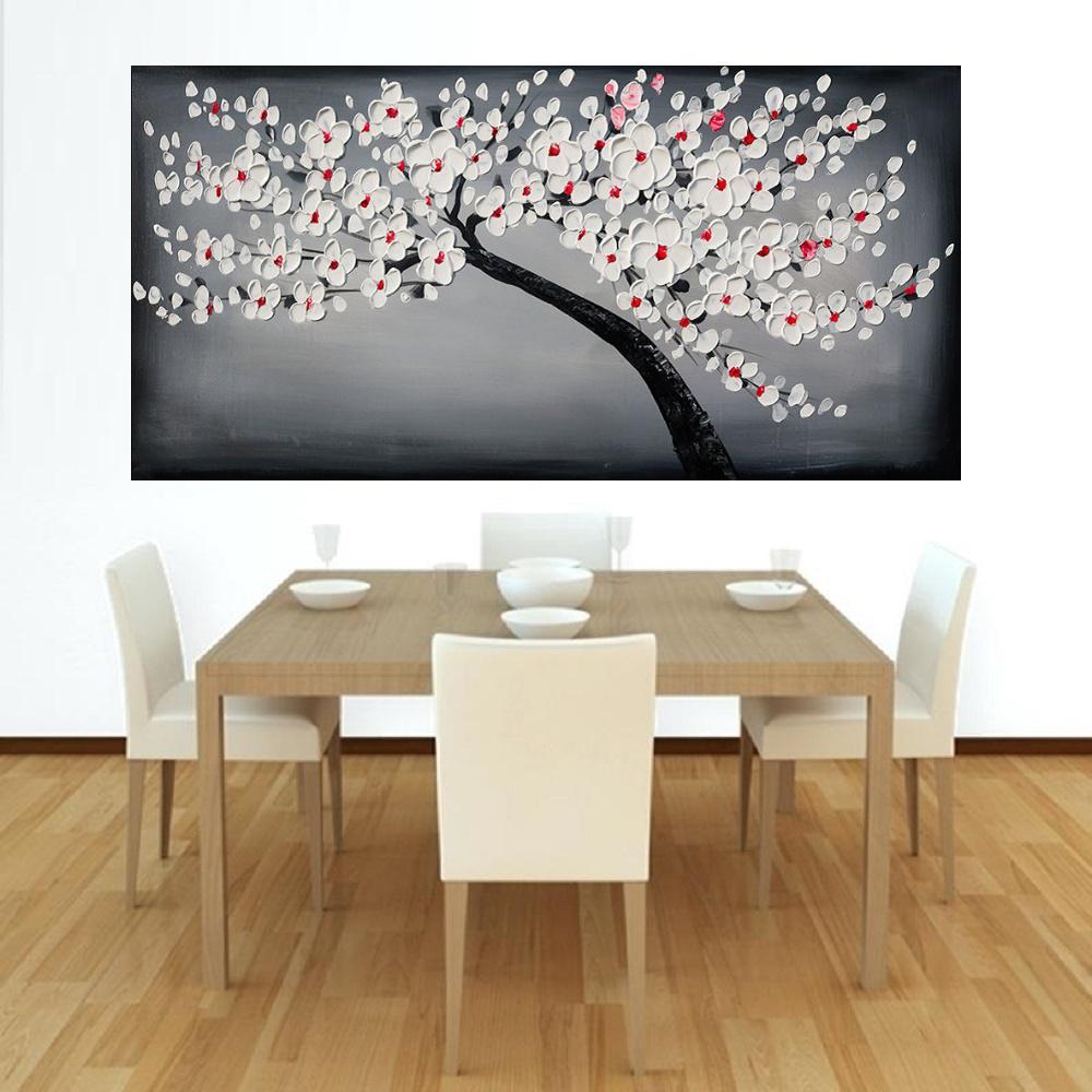 Quadro Pintura Tela Arvores e Flores Modernas Em Altos Relevos Cod 2089