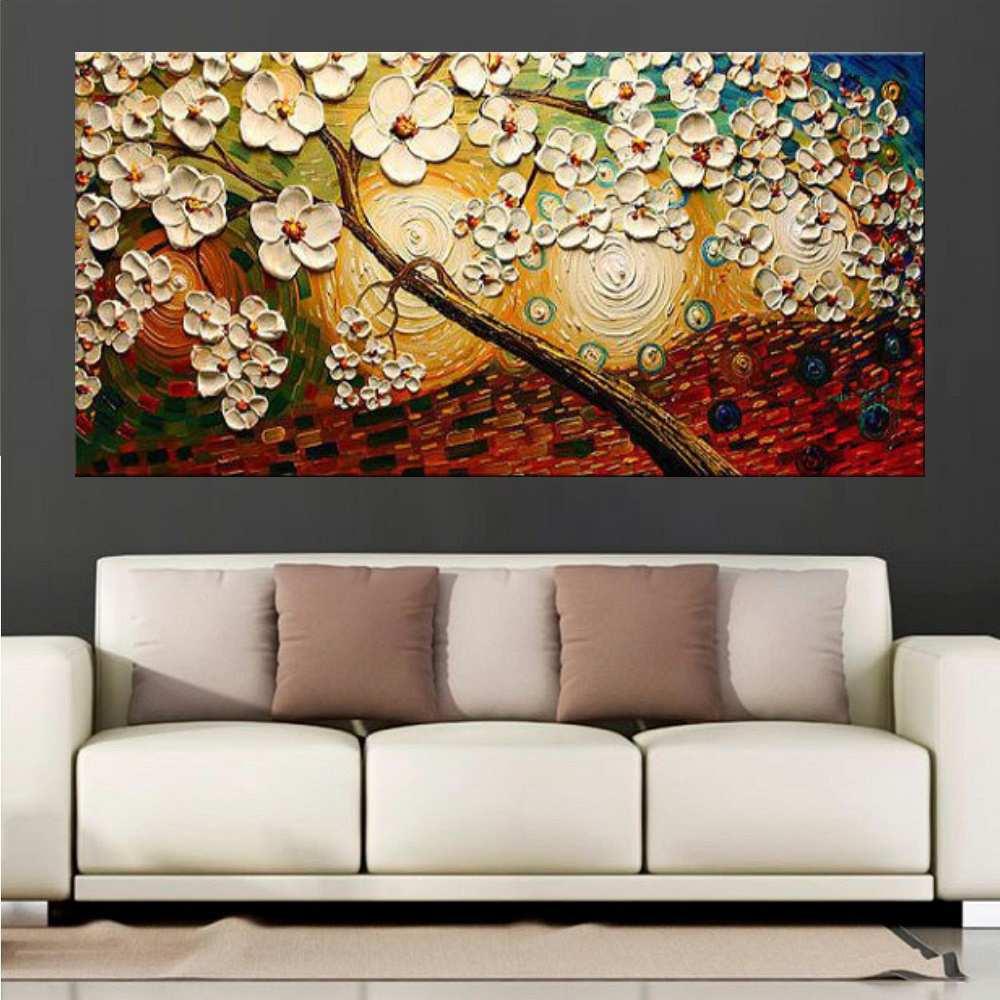 Quadro Pintura Tela Arvores e Flores Modernas Em Altos Relevos Cod 2092