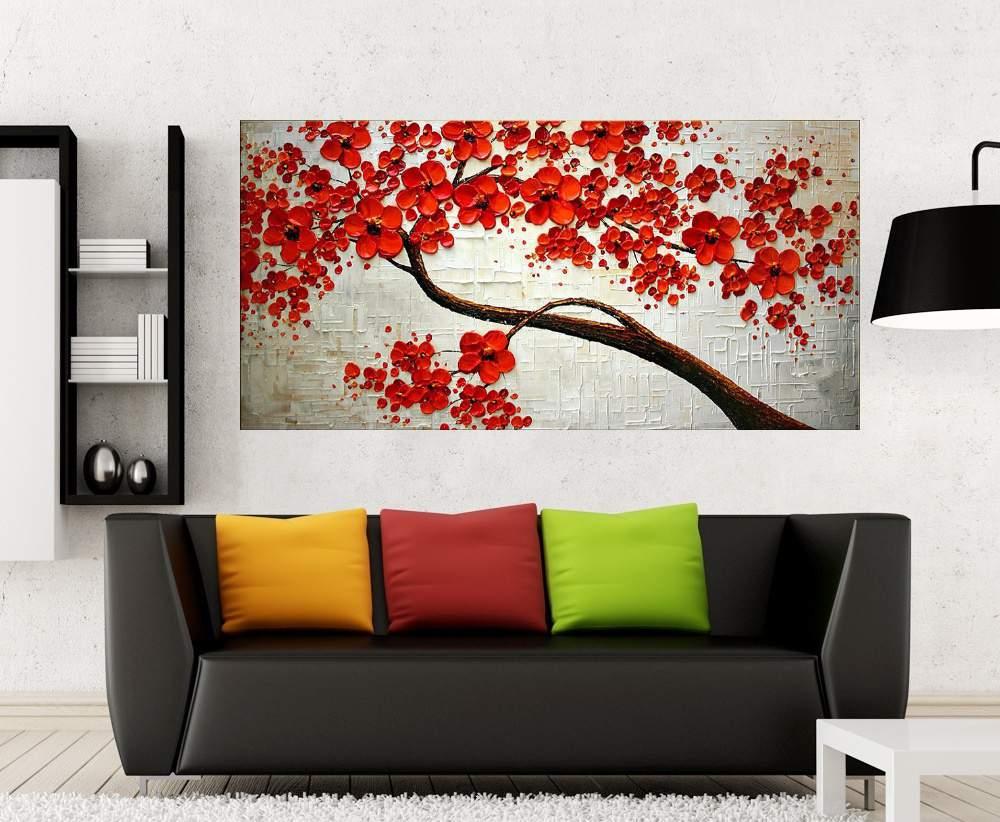 Quadro Pintura Tela Arvores e Flores Modernas Em Altos Relevos Cod 2093
