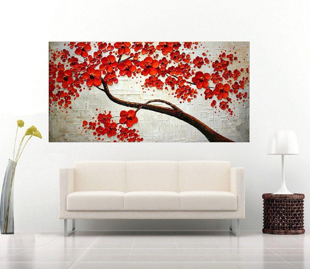 Quadro Pintura Tela Arvores e Flores Modernas Em Altos Relevos Cod 2093 80x160cm