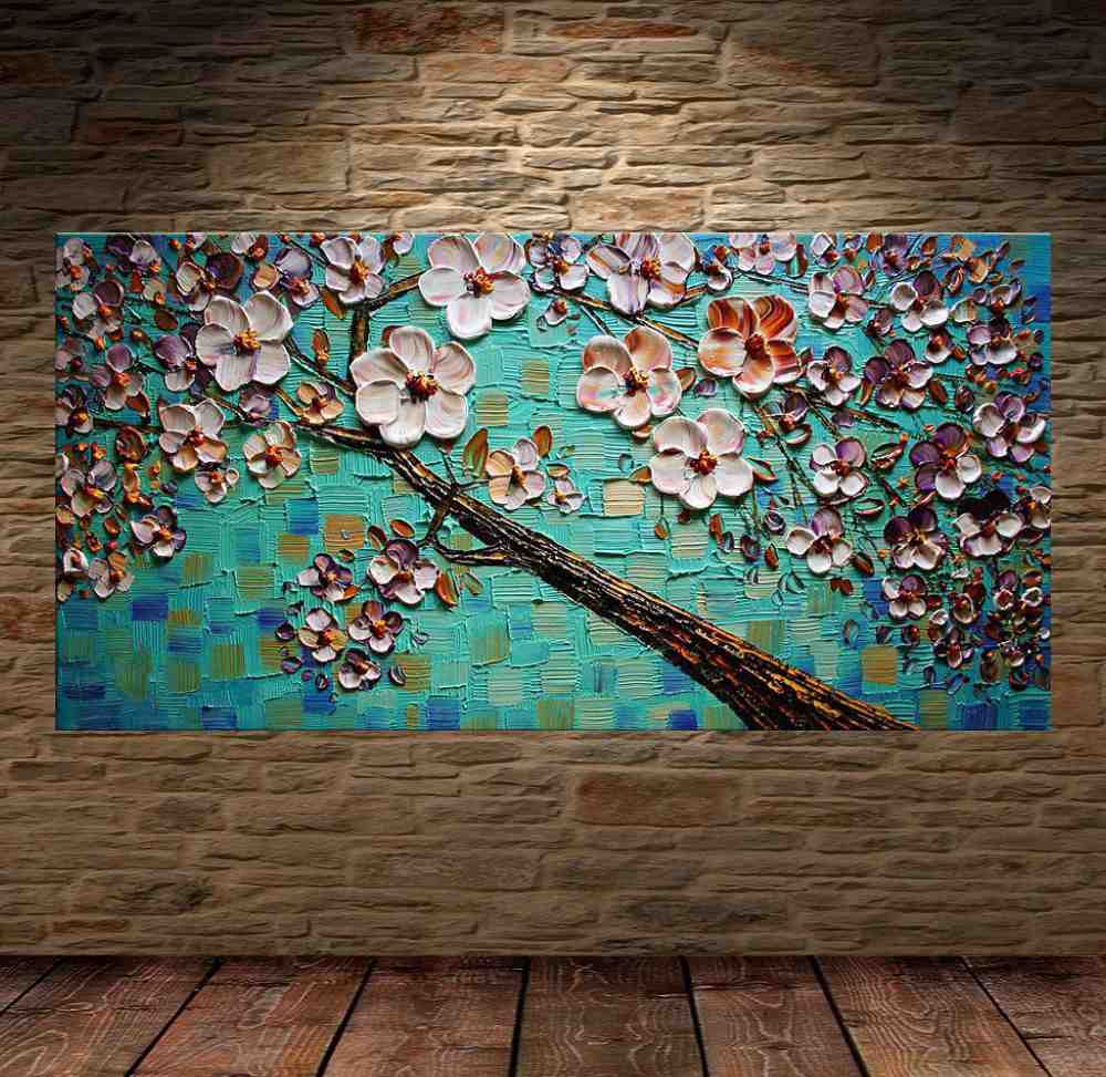 Quadro Pintura Tela Arvores e Flores Modernas Em Altos Relevos Cod 2094