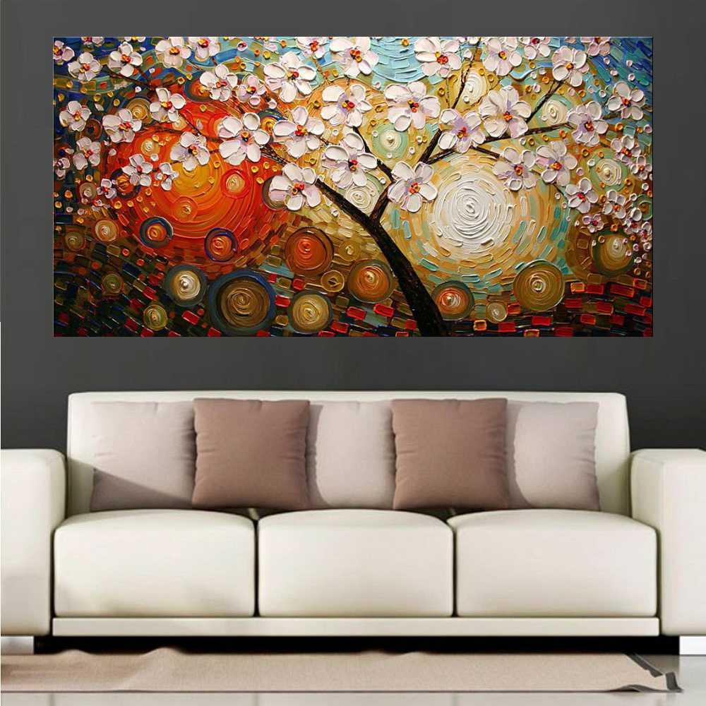 Quadro Pintura Tela Arvores e Flores Modernas Em Altos Relevos Cod 2095