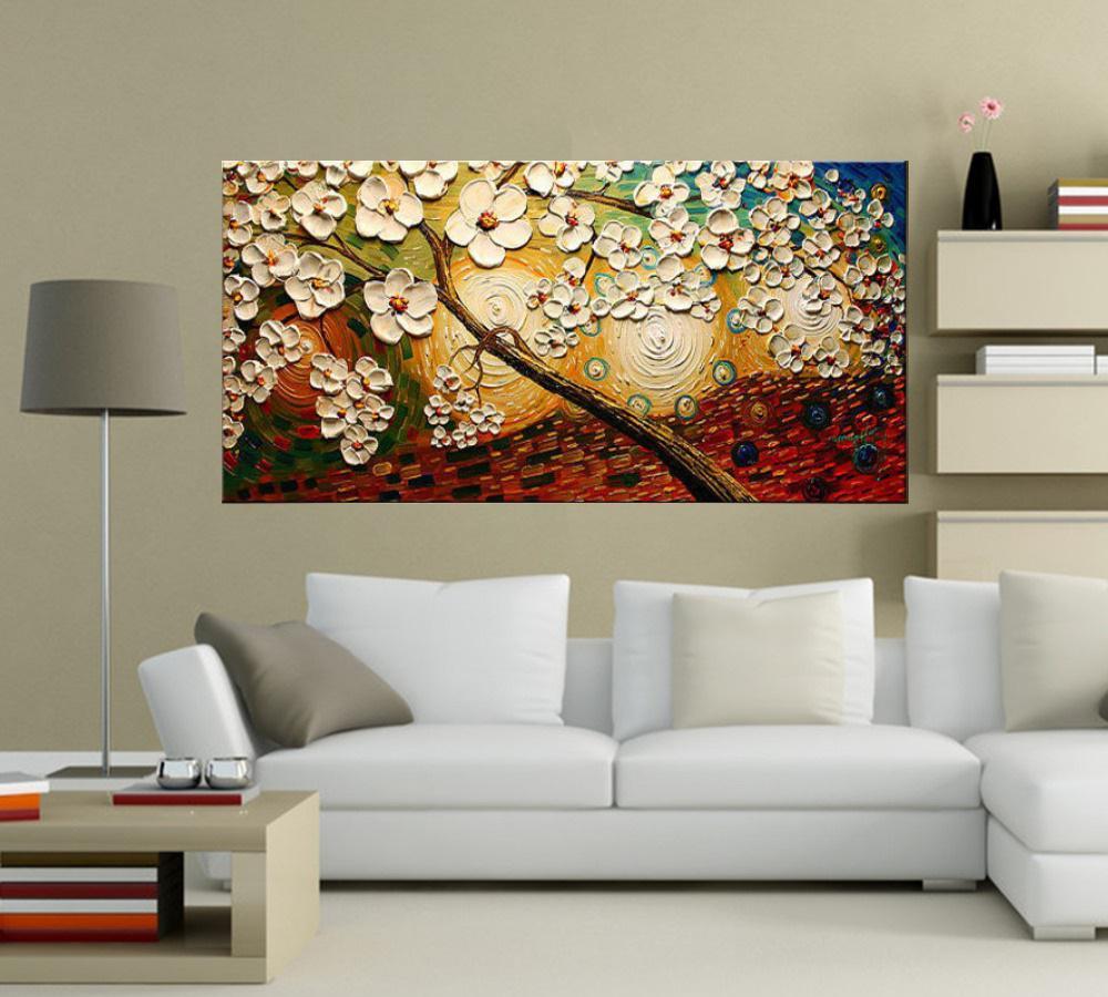 Quadro Pintura Tela Arvores e Flores Modernas Em Altos Relevos Cod 2096