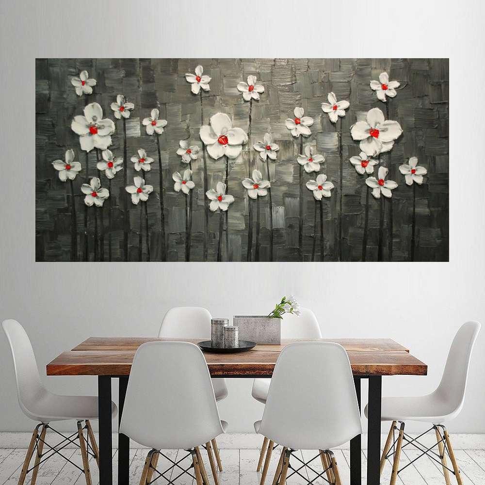 Quadro Pintura Tela Arvores e Flores Modernas Em Altos Relevos Cod 2097