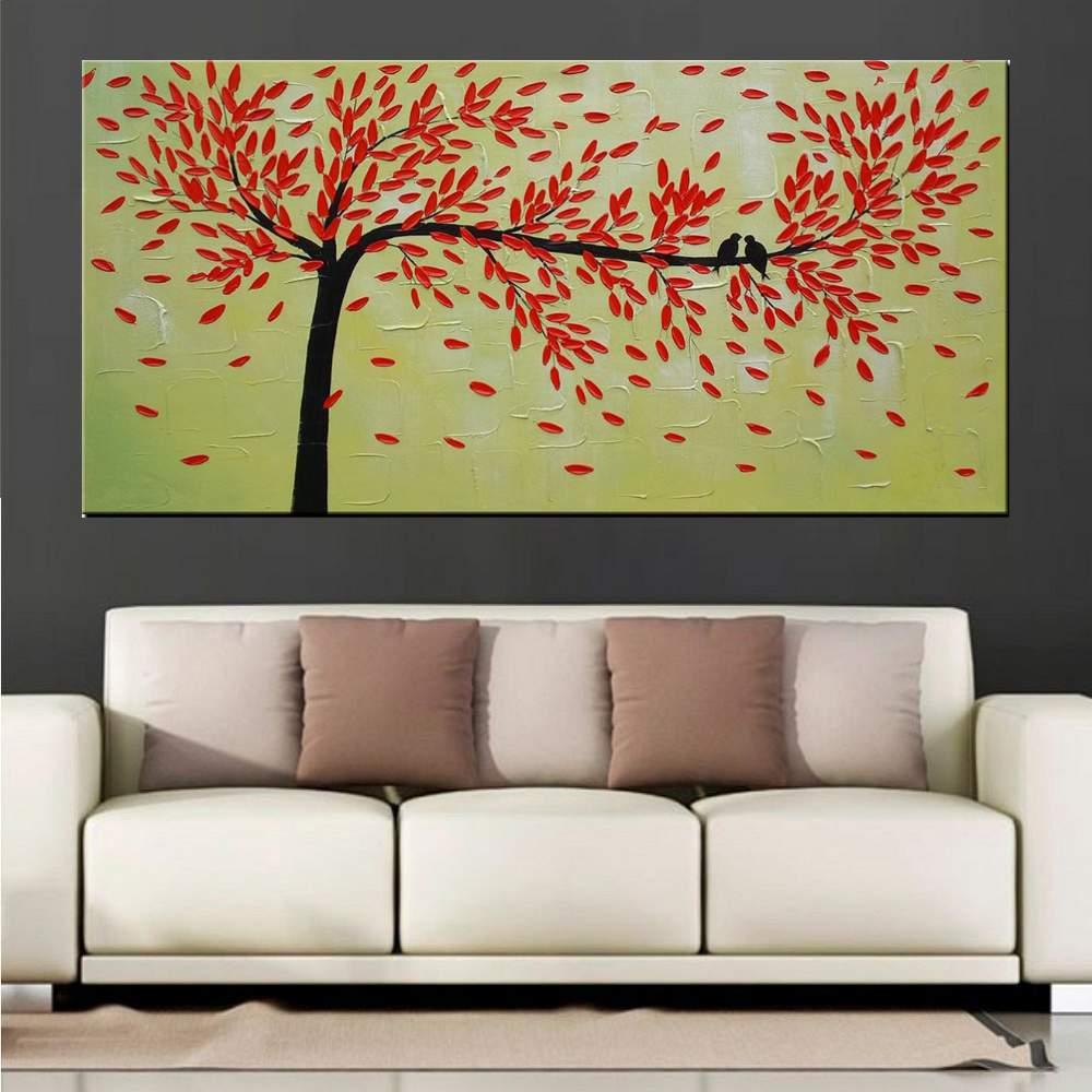 Quadro Pintura Tela Arvores e Flores Modernas Em Altos Relevos Cod 2099