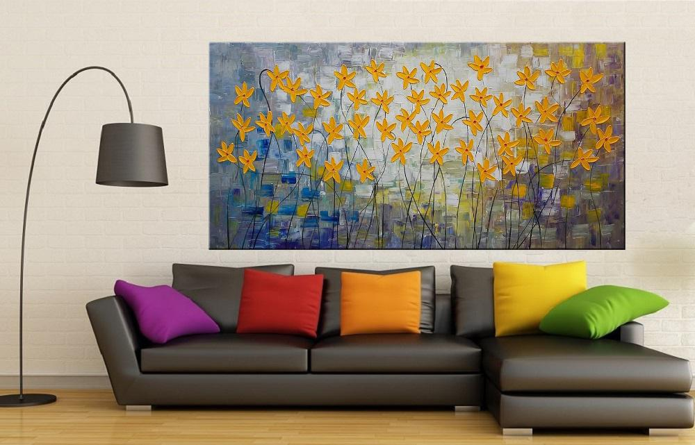 Quadro Pintura Tela Arvores e Flores Modernas Em Altos Relevos Cod 2100