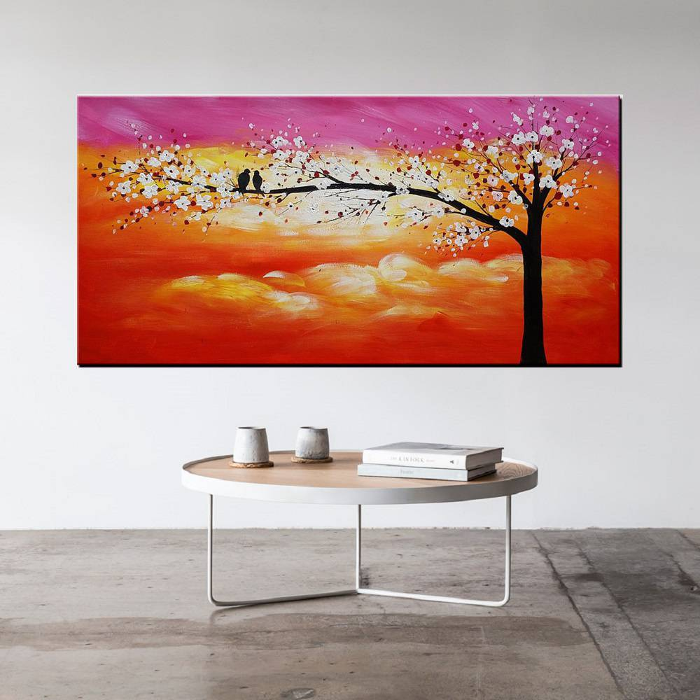 Quadro Pintura Tela Arvores e Flores Modernas Em Altos Relevos Cod 2101