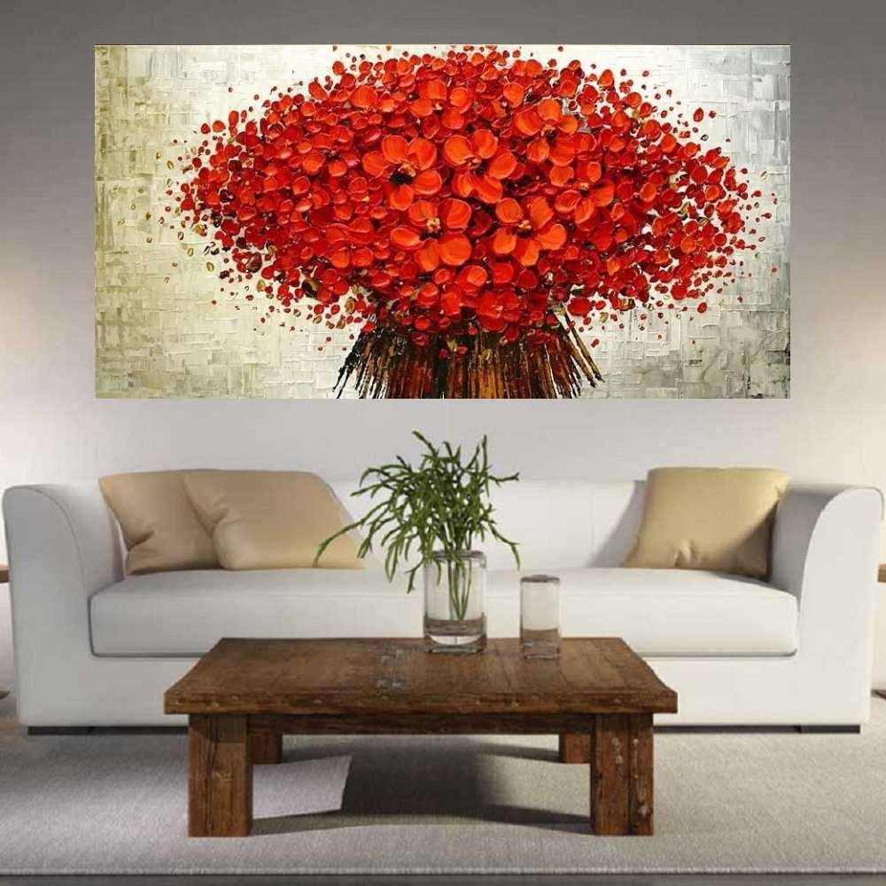Quadro Pintura Tela Arvores e Flores Modernas Em Altos Relevos Cod 2115