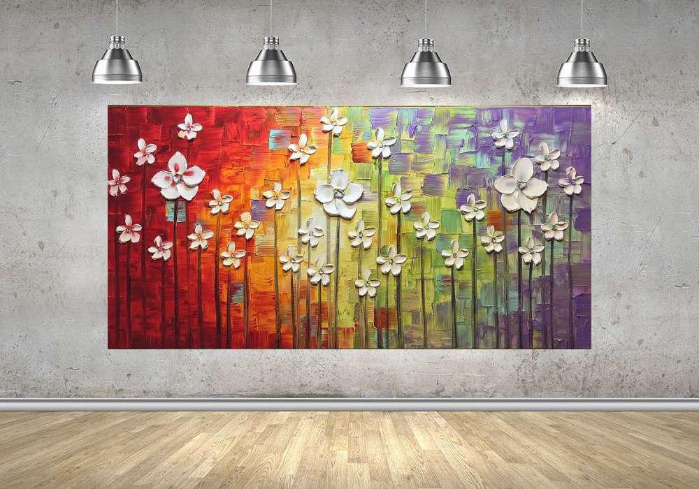 Quadro Pintura Tela Arvores e Flores Modernas Em Altos Relevos Cod 2158