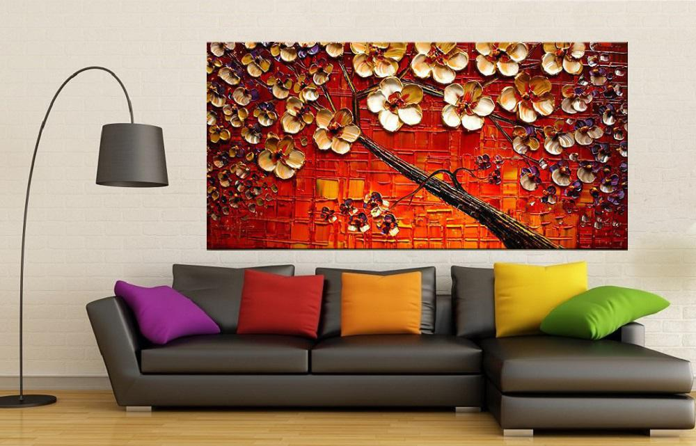 Quadro Pintura Tela Arvores e Flores Modernas Em Altos Relevos Cod 2159