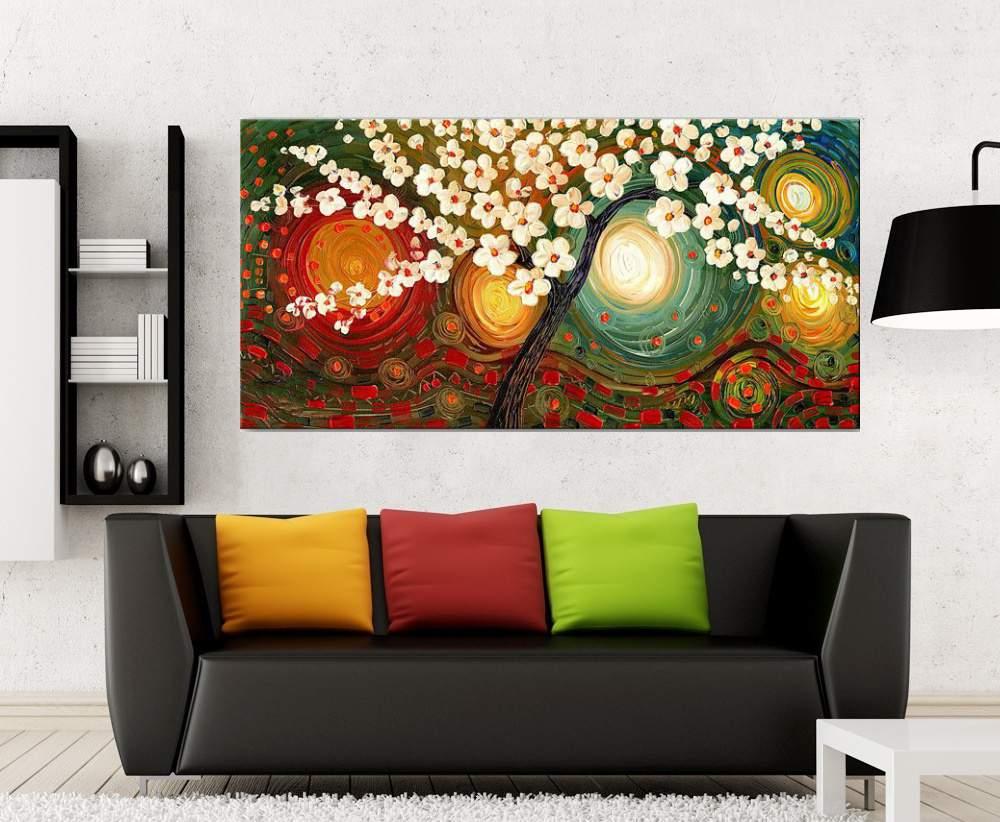 Quadro Pintura Tela Arvores e Flores Modernas Em Altos Relevos Cod 2160