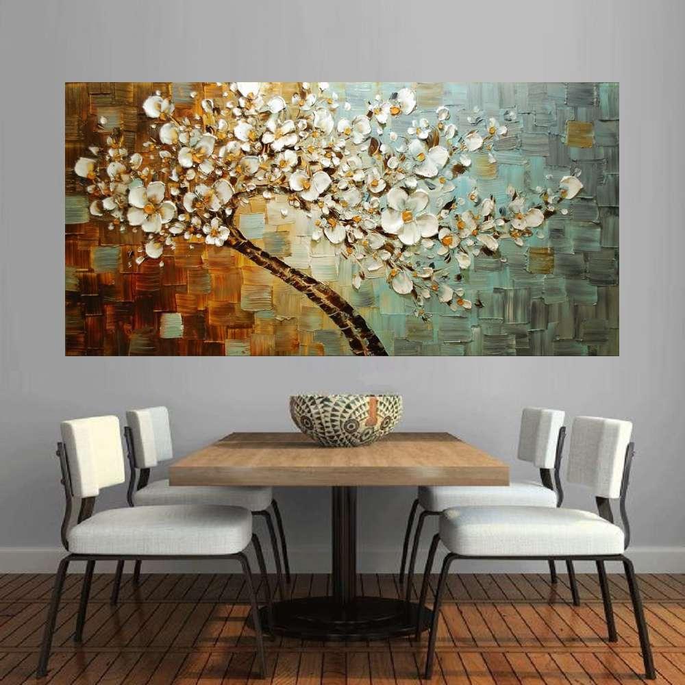 Quadro Pintura Tela Arvores e Flores Modernas Em Altos Relevos Cod 2164