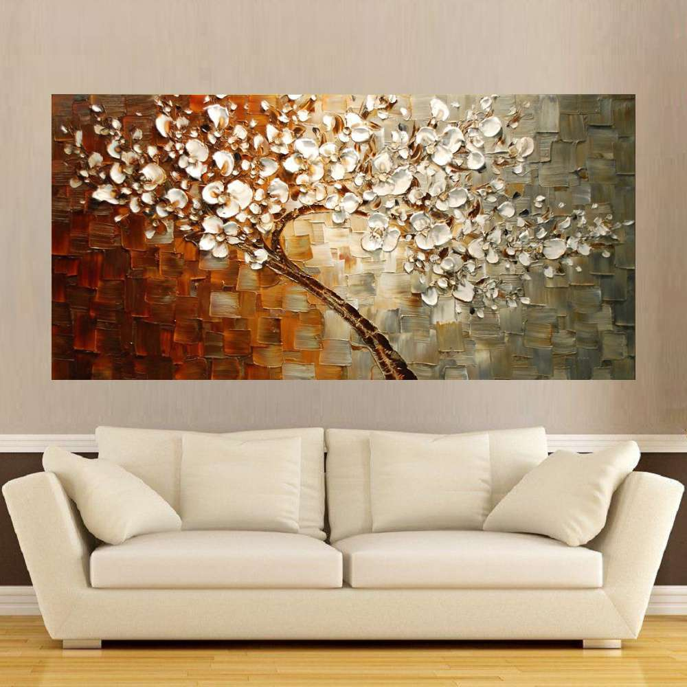 Quadro Pintura Tela Arvores e Flores Modernas Em Altos Relevos Cod 2172