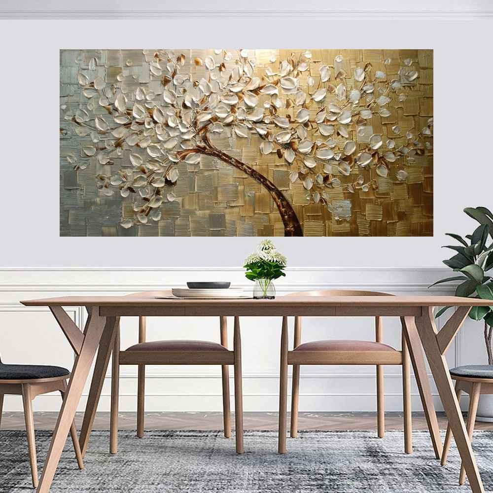 Quadro Pintura Tela Arvores e Flores Modernas Em Altos Relevos Cod 2181