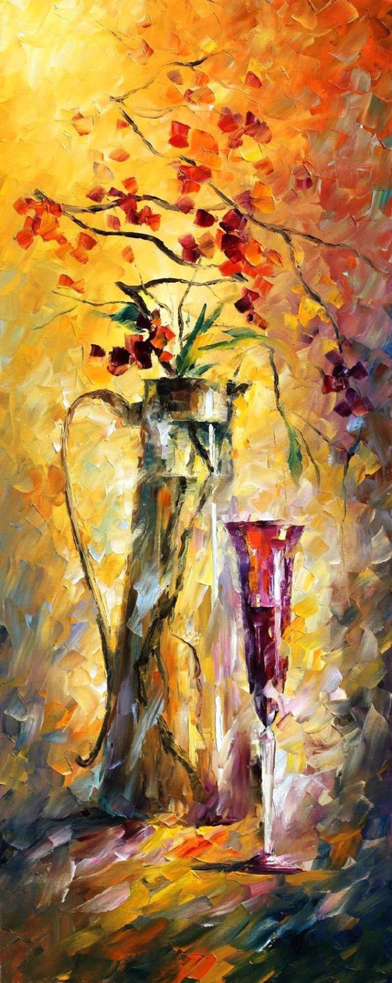Quadro Pintura Tela Flores Paisagem Urbana Cod 4440