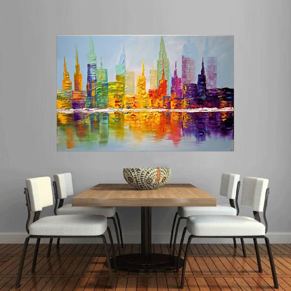 Quadro Pintura Tela Cidade Paisagem Urbana Cod 2033