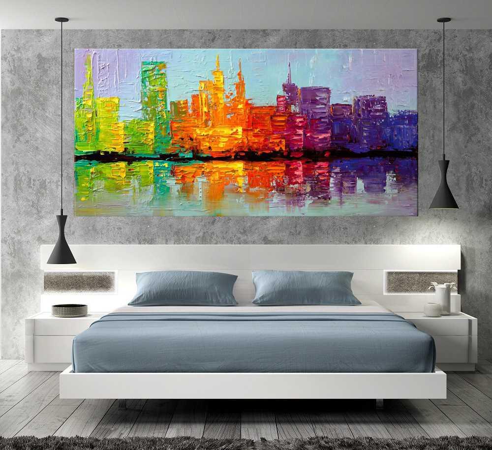 Quadro Pintura Tela Cidade Paisagem Urbana Cod 2417