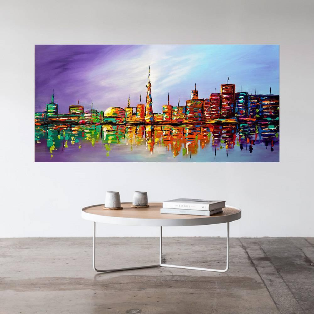 Quadro Pintura Tela Cidade Paisagem Urbana Cod 2434