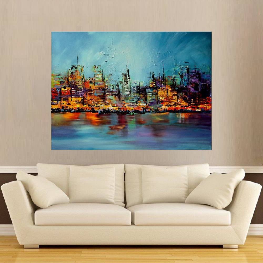 Quadro Pintura Tela Cidade Paisagem Urbana Cod 2436