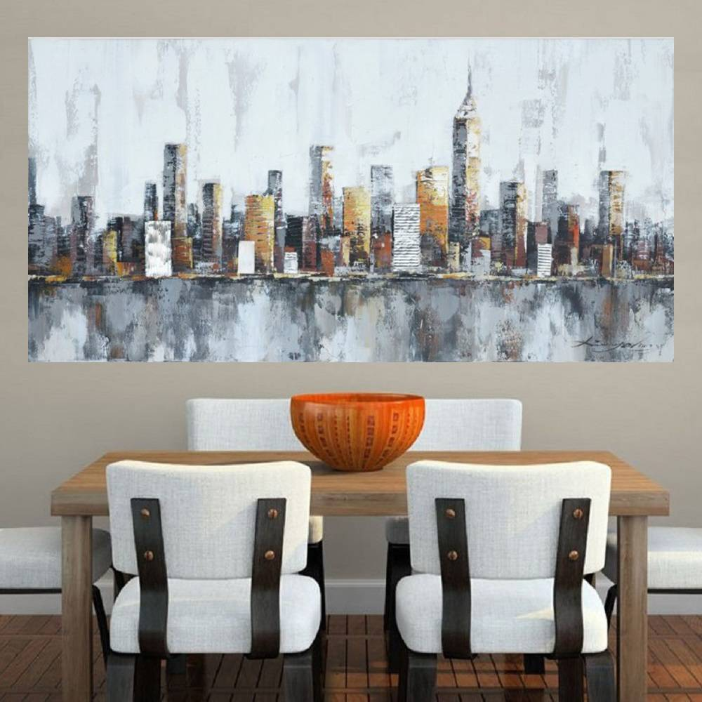 Quadro Pintura Tela Cidade Paisagem Urbana Cod 2437