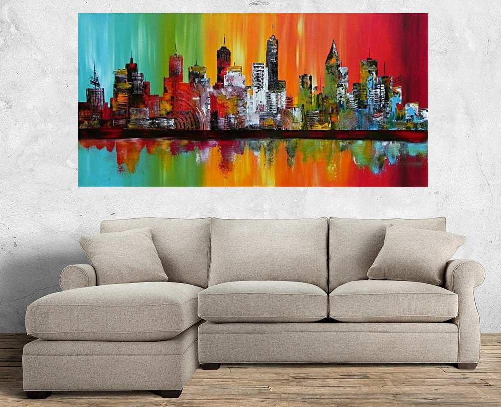 Quadro Pintura Tela Cidade Paisagem Urbana Cod 2438
