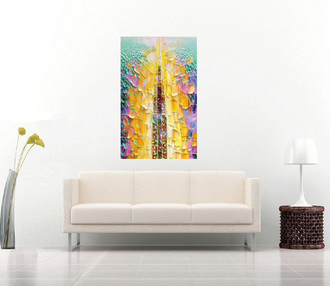 Quadro Pintura Tela Cidade Paisagem Urbana Cod 2440