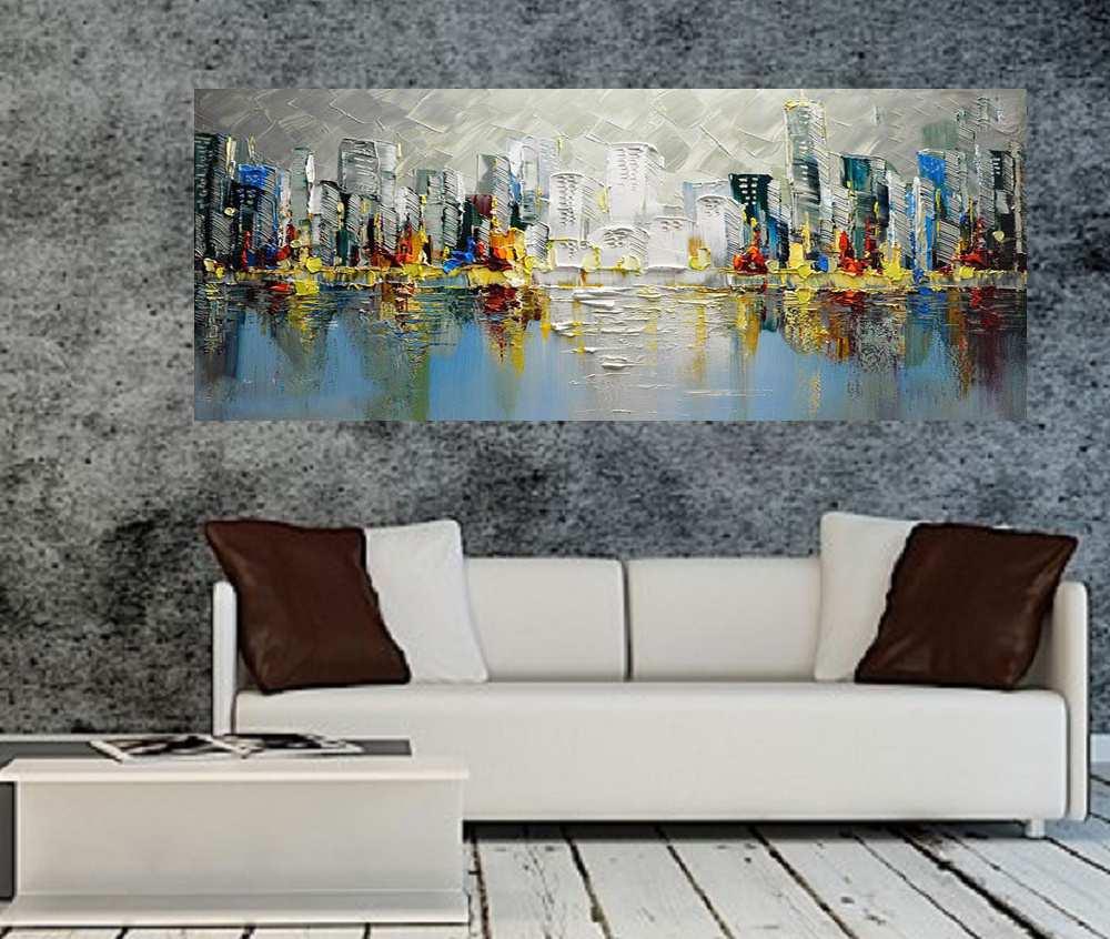 Quadro Pintura Tela Cidade Paisagem Urbana Cod 2441