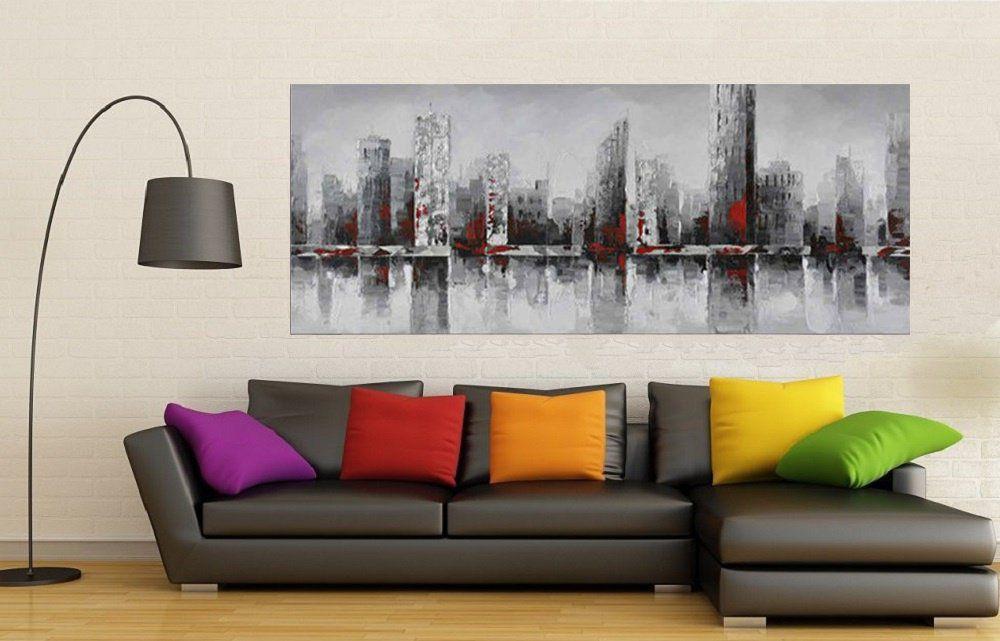 Quadro Pintura Tela Cidade Paisagem Urbana Cod 2442