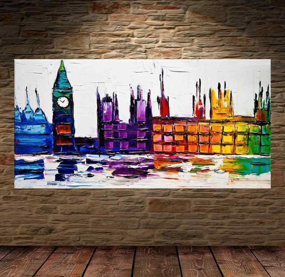 Quadro Pintura Tela Cidade Paisagem Urbana Cod 2445