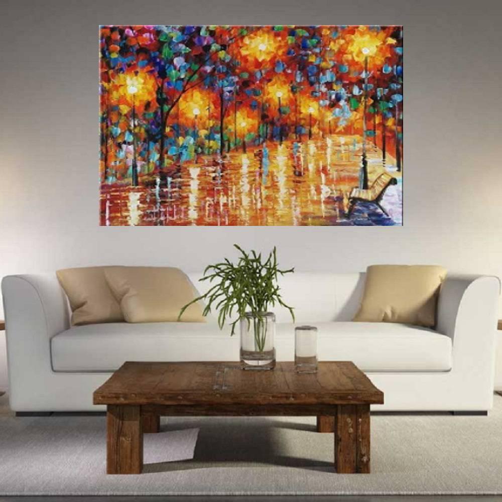 Quadro Pintura Tela Cidade Paisagem Urbana Cod 4007