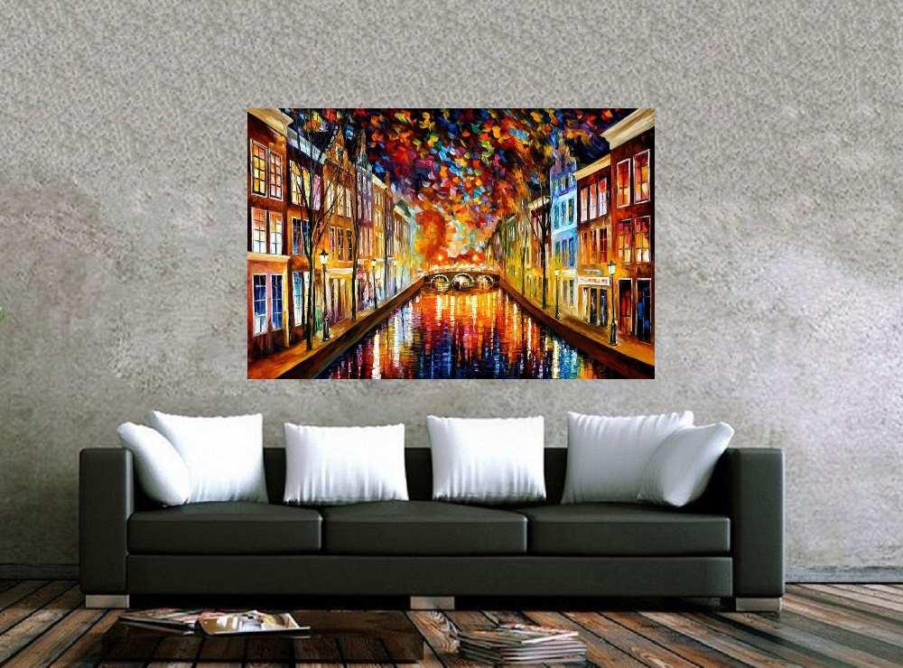 Quadro Pintura Tela Cidade Paisagem Urbana Cod 4011