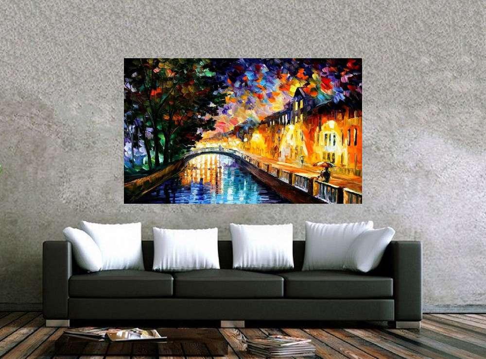 Quadro Pintura Tela Cidade Paisagem Urbana Cod 4013