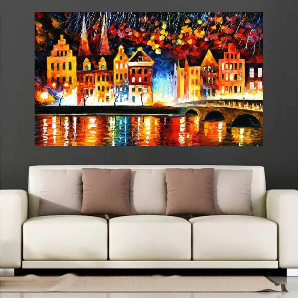 Quadro Pintura Tela Cidade Paisagem Urbana Cod 4014