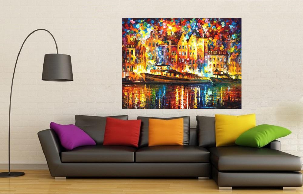 Quadro Pintura Tela Cidade Paisagem Urbana Cod 4015