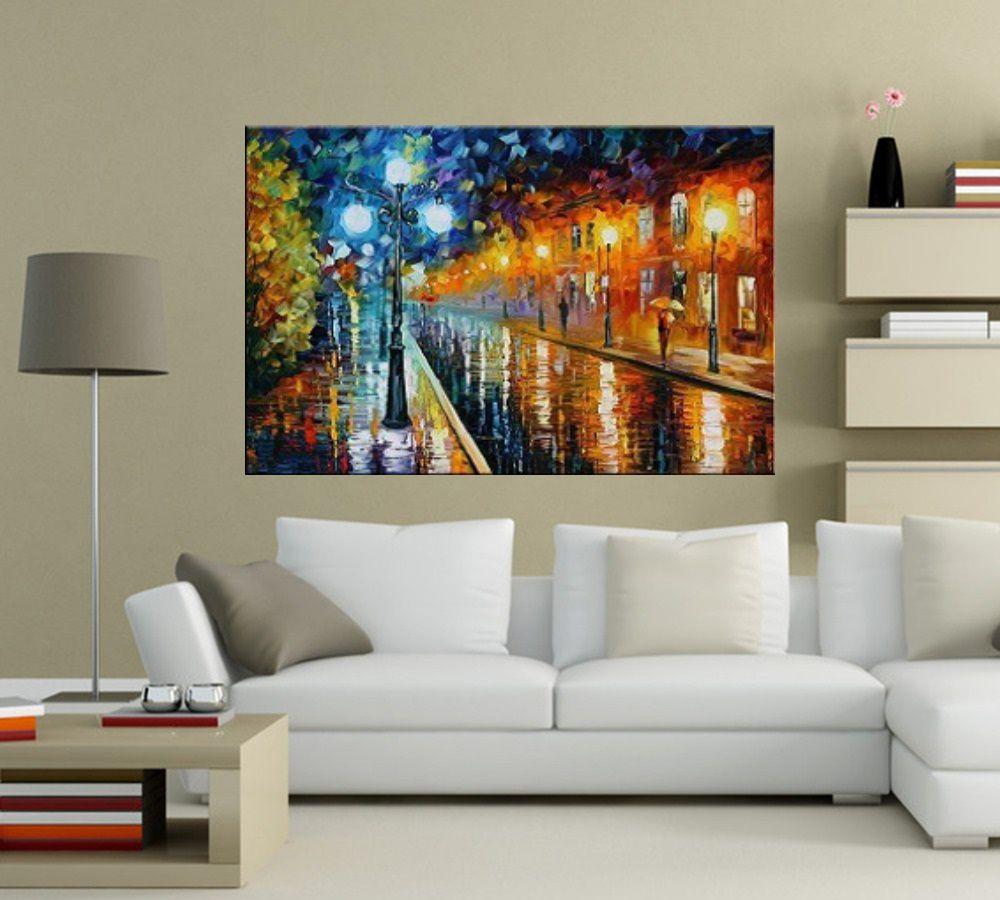 Quadro Pintura Tela Cidade Paisagem Urbana Cod 4017